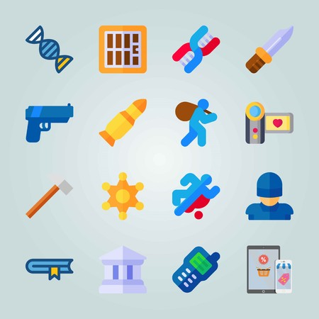 Icon set about Crime Investigation. with camera, prison and walkie-talkie