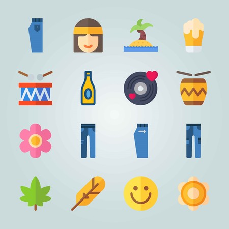 Icon set about Hippies. with emoticon, bottle and weed Illustration