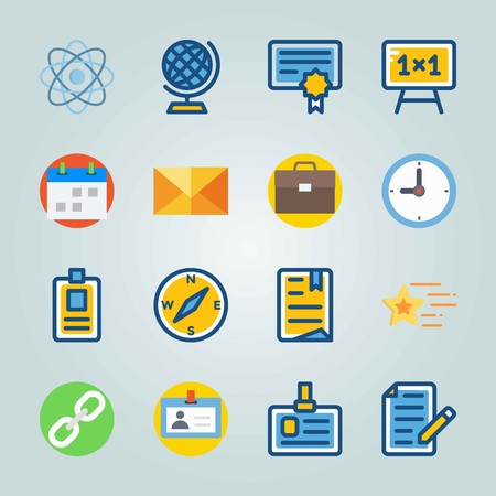 Icon set about Education And School. with blackboard, briefcase and globe