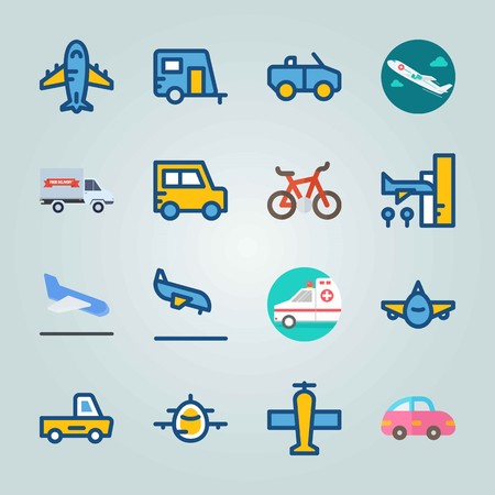Icon set about Transport. with bicycle, arrival and truck