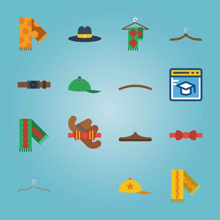 Icon set about Man Accessories. with red-yellow bow tie, green scarf and cap