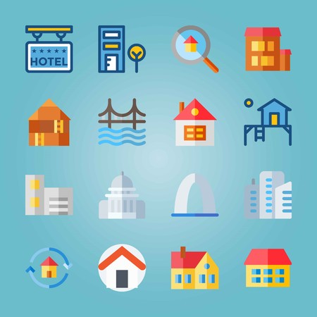 Icon set about Construction with telephone cab, house and gateway arch
