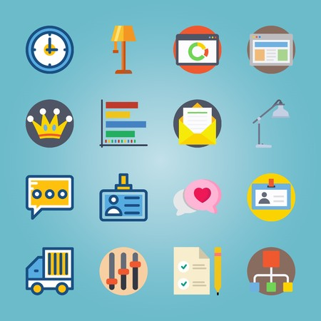 icon set about Digital Marketing with crown, desk lamp, watch, email and clock Illusztráció