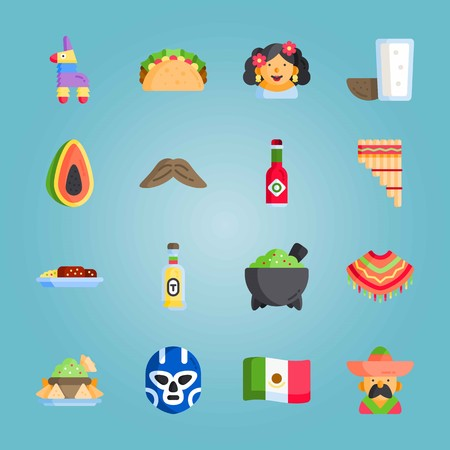 Icon set about Mexican Holiday De Mayo. with helmet, tabasco and mexican woman