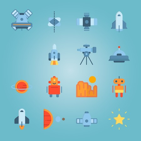 Icon set about Universe with earth, sun, planet, alien and moon