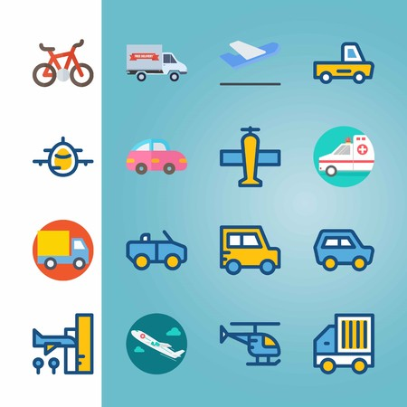 Icon set about Transport. with departure plane, cabriolet and truck