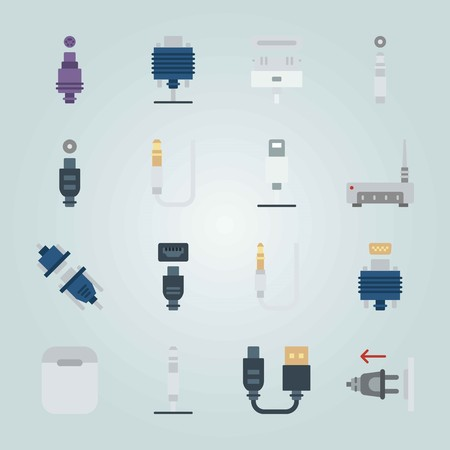 Icon set about Connectors Cables. with plug out, usb and jack connector