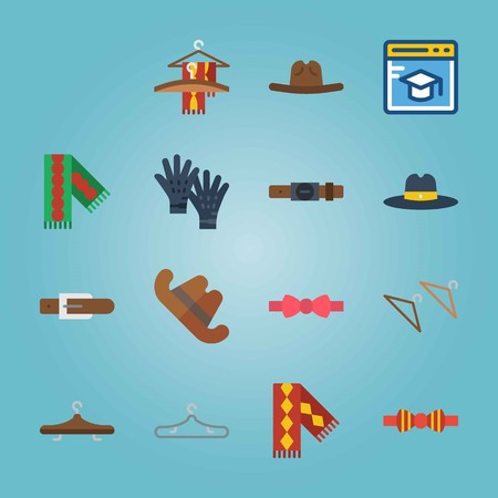 Icon set about Man Accessories. with browser, gloves and scarf on hanger