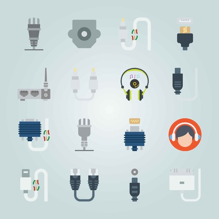 Icon set about Connectors Cables. with face, broken cable and dvi