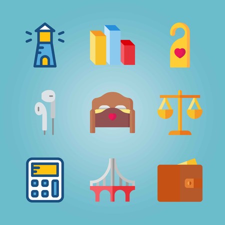 Icon set about Real Assets. with columns, lighthouse and doorknob