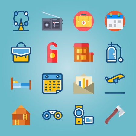 icon set about Travel with camera, schedule, attraction, aid and first aid kit