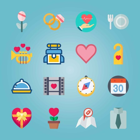 Icon set about Wedding. with restaurant, flower and fork and plate