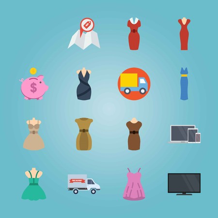 Icon set about Shopping. with phone, headphones and television Illustration