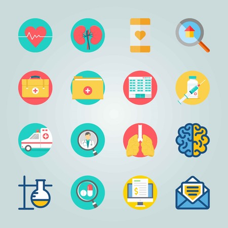 Icon set about Medical with injection, lungs and aid Illustration
