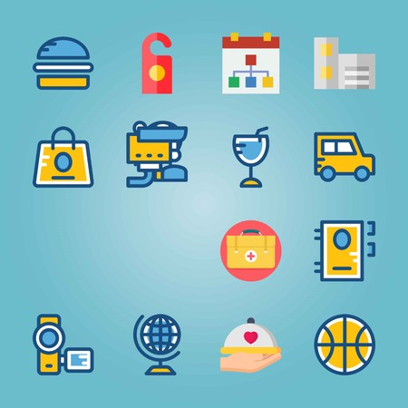 Icon set about Travel with recorder, schedule and bag Zdjęcie Seryjne - 94709154