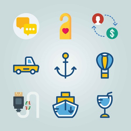 Icon set about Travel with anchor, auto truck and car