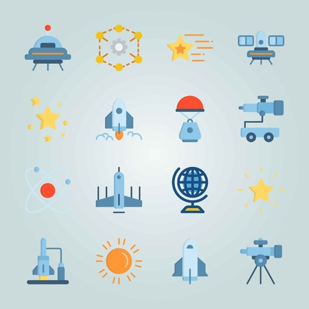 Icon set about Universe. with ufo, diagram and globus