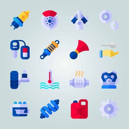 Icon set about Car Engine. with jerry can, stopping device and canister