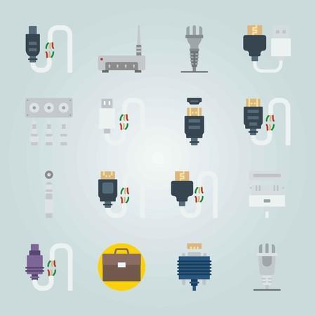커넥터 케이블에 대 한 아이콘이 설정됩니다. 케이스, 잭 커넥터 및 USB 스톡 콘텐츠 - 94535108