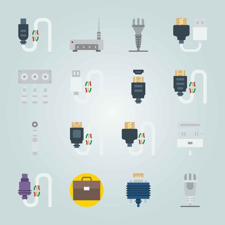 Icon set about Connectors Cables. with case, jack connector and usb Vectores