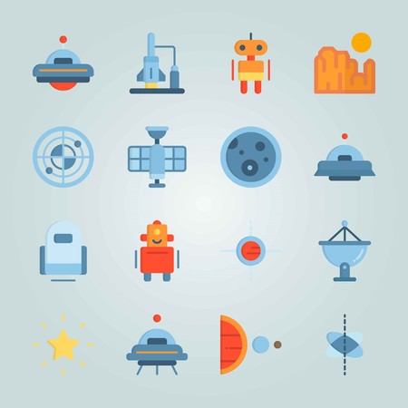 Icon set about Universe. with alien, planet and earth Vectores
