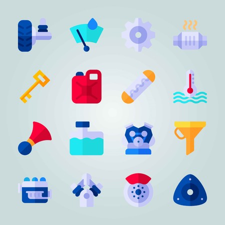Icon set about Car Engine. with tire, engine and temperature Illustration