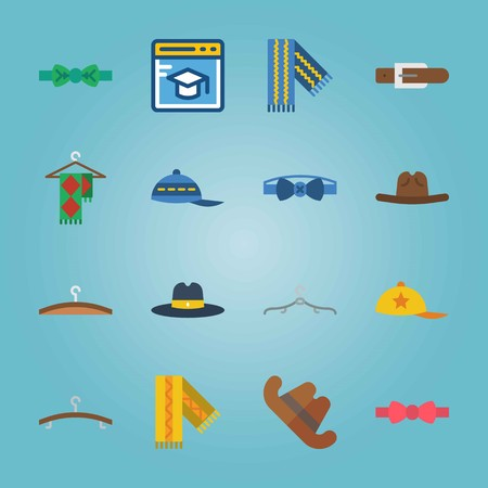 Icon set about Man Accessories. with blue cap, fedora hat and blue scarf Illustration