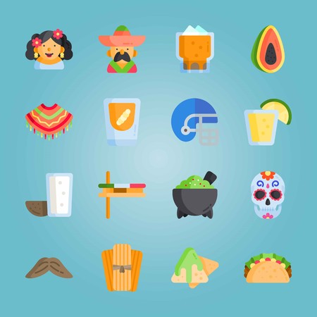 Icon set about Mexican Holiday De Mayo. with moustache, mezcal and molcajete