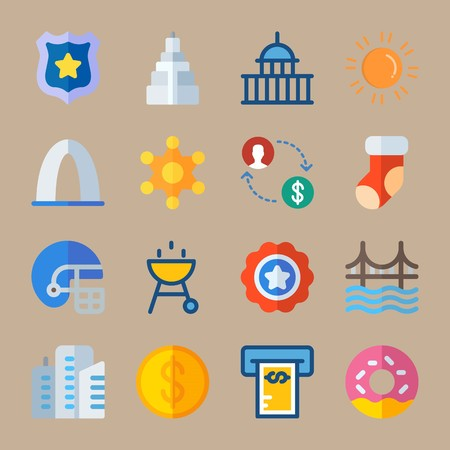 Icon set about United States. with donut, dollar and money