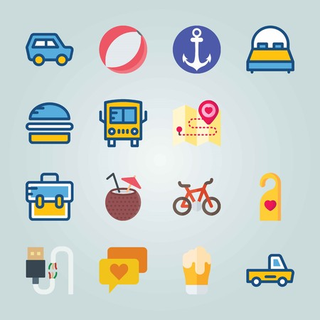 Icon set about Travel. with broken cable, direction and car