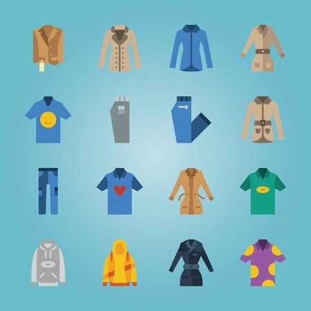 Icon set about Man Clothes. with hoodie, shirt and raincoat