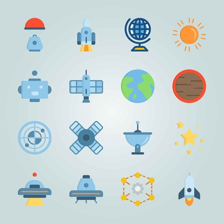 Icon set about universe with system of planets, diagram, circles and more. Zdjęcie Seryjne - 94657148