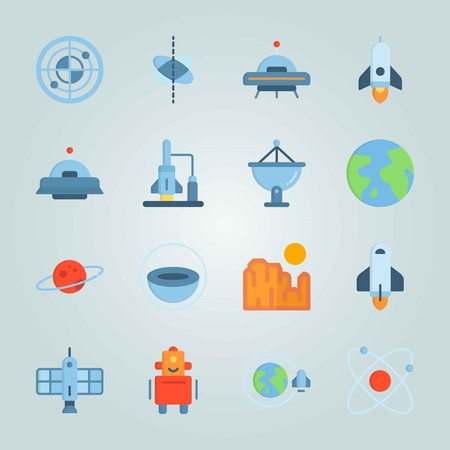 Icon set about universe with circles, ufo, alien and more.