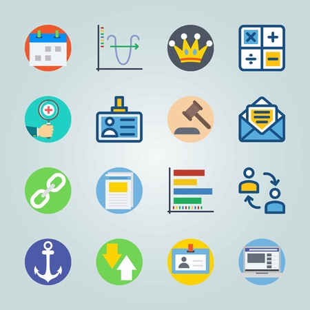 Icon set about digital marketing with analytic, idea, law and more.