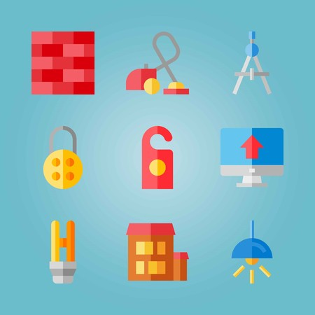 Icon set about real assets with invention, lamp, bricks and more.