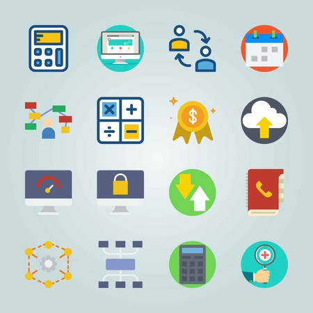 icon set about marketing with schedule calculator and calendar