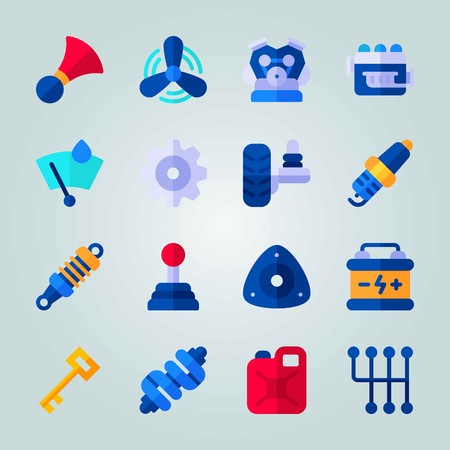 Icon set about Car Engine. with canister, horn and fan