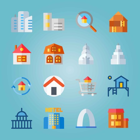 Icon set about Construction. with carrier, capitol and house