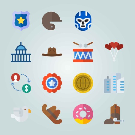 Icon set about United States with balloons, stamp, cowboy hat and more. Illustration