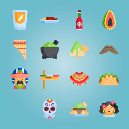 Icon set about Mexican Holiday De Mayo with tabasco, Mexican alcoholic beverage, Mexican sauce and more. Illustration