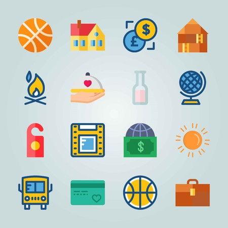 Icon set about travel with film strip, credit card, earth and more. Ilustrace