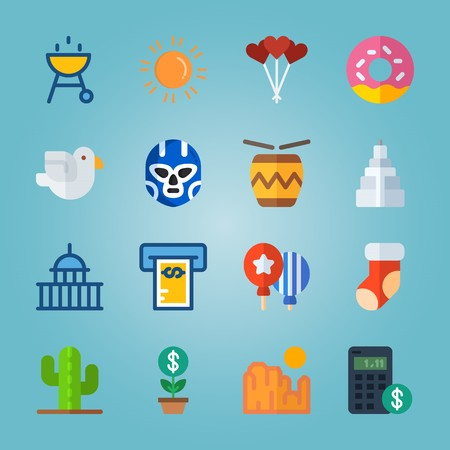icon set about United States with cookie, plant, dove, cactus and lolly