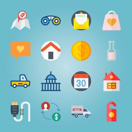 Icon set about travel with house, US, car and more. Ilustrace