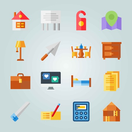 Icon set about Real Assets. with lamp, papers and bed