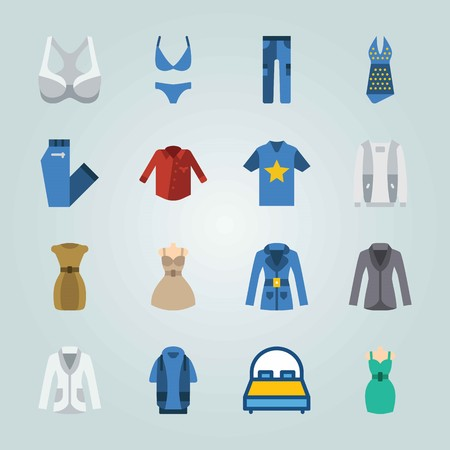 Icon set about clothes and accessories with dress, shirt, hoodie and more.