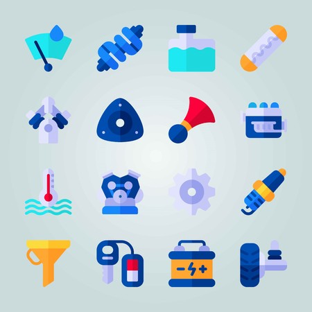 Icon set about car engine with wheel, key, drop of rain and more. Illustration