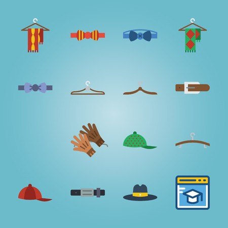 Icon set about man Accessories with green cap, scarf on hanger, blue bow tie, fedora hat, belt and more.