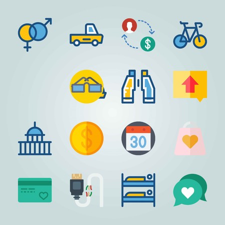 Icon set about travel with bag, credit card, coin and more. Illustration