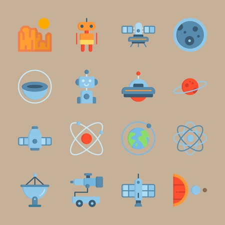 Icon set about universe with robot, craft, half planet and more. Vectores