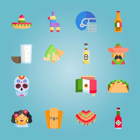 Icon set about Mexican Holiday De Mayo with pulque, poncho, american football and more.